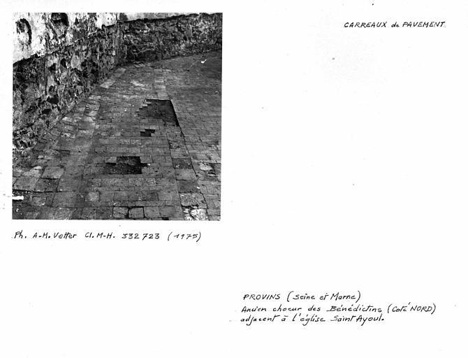 Choeur des Bénédictins (ancien). Carreaux de pavement, côté nord