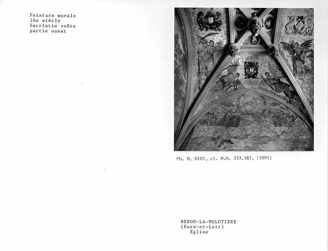 Voûte de la sacristie, partie ouest, peinture murale