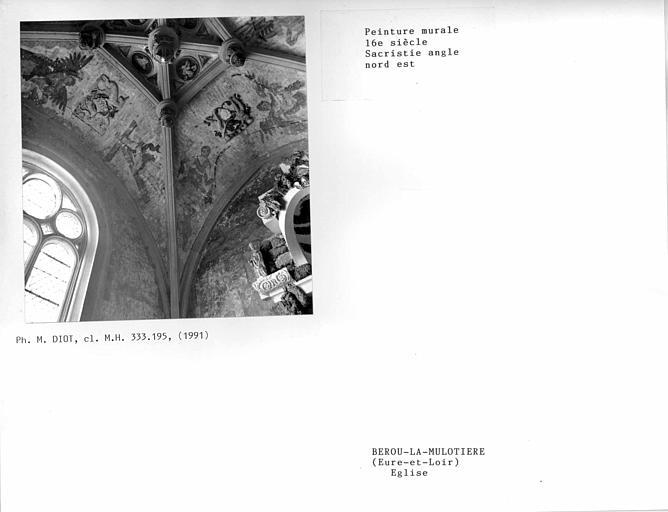 Voûte de la sacristie, angle nord-est, peinture murale
