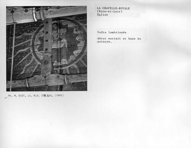 Charpente lambrissée de la nef, décor de l'entrait et base du premier poinçon