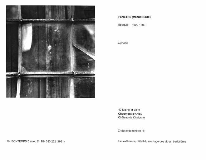 Châssis de fenêtre déposé. Face extérieure, détail du montage des vitres, barlotières