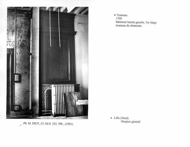 Trumeau de cheminée au premier étage du bâtiment latéral gauche. Vue d'ensemble