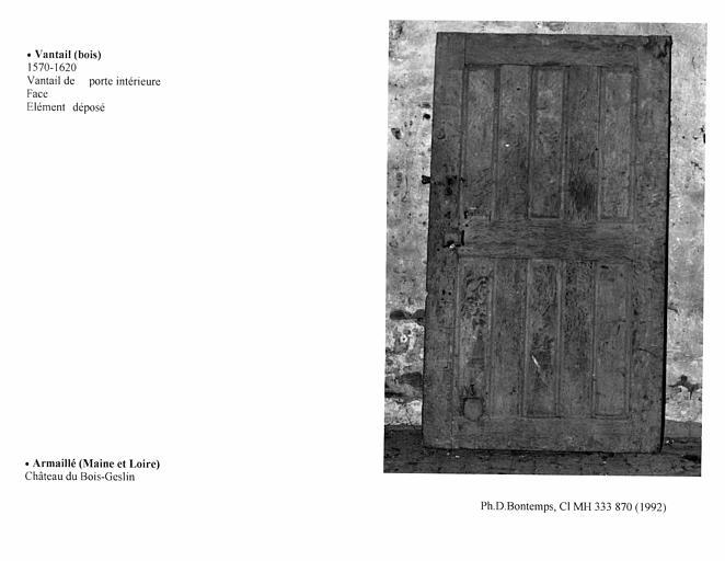 Vantail de porte intérieure, A. Face