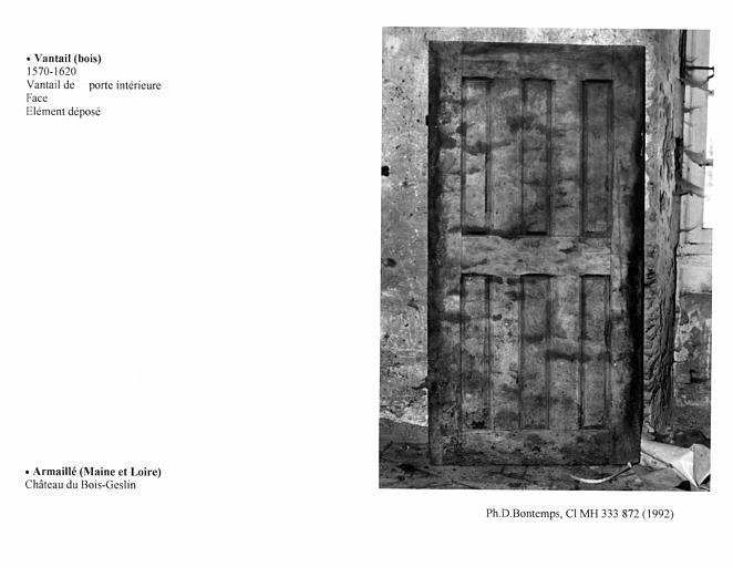 Vantail de porte intérieure, B. Face
