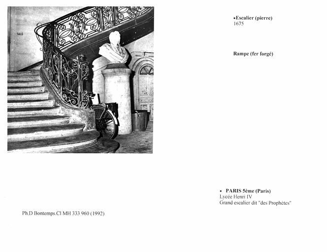 Grand escalier dit des 'Prophètes'. Détail du pied de l'escalier