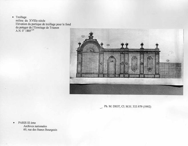 Trianon. Elévation du portique de treillage pour le fond du potager de l'Ermitage de Trianon. Vue d'ensemble