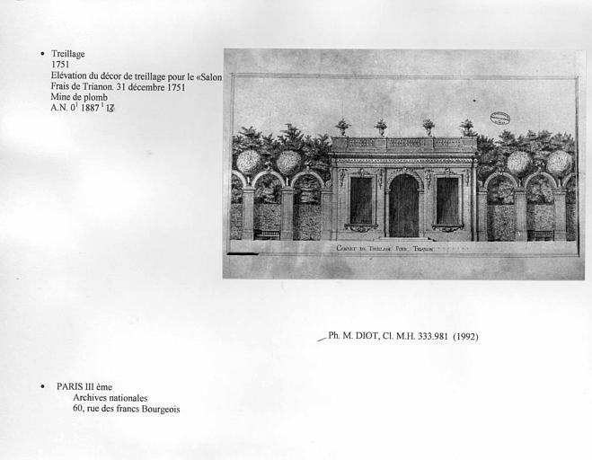 Château. Elévation du décor de treillage pour le Salon Frais de Trianon. A.N. O.1 1887.1 13