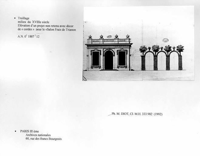 Château. Treillage. Projet non retenu d'élévation avec décor de 'cordes' pour le salon Frais de Trianon. Vue d'ensemble