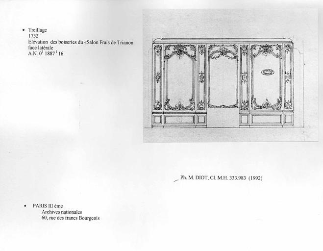 Trianon. Treillage. Elévation des boiseries du Salon Frais de Trianon. Face latérale
