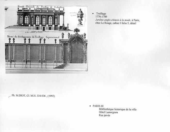 Dessin de treillage. Cahier I folio 5, détail