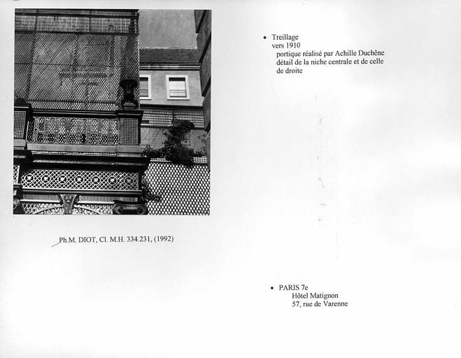 Portique en treillage. Détail de la niche centrale et de celle de droite