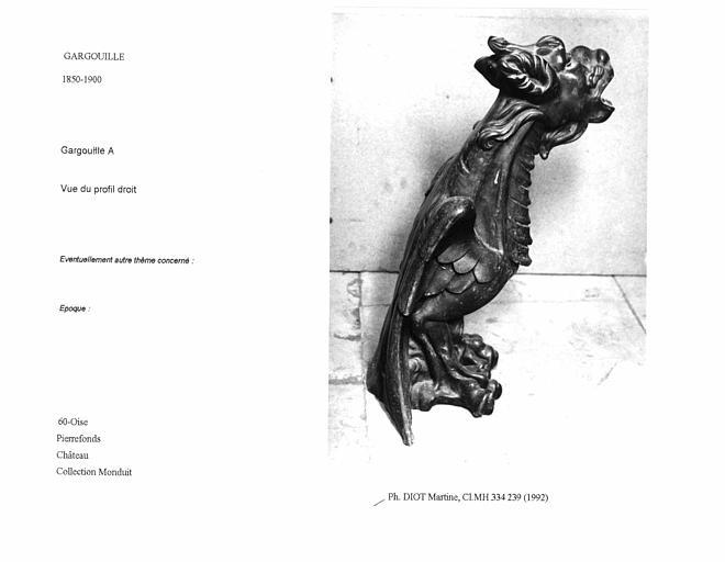 Gargouille A. Vue du profil droit