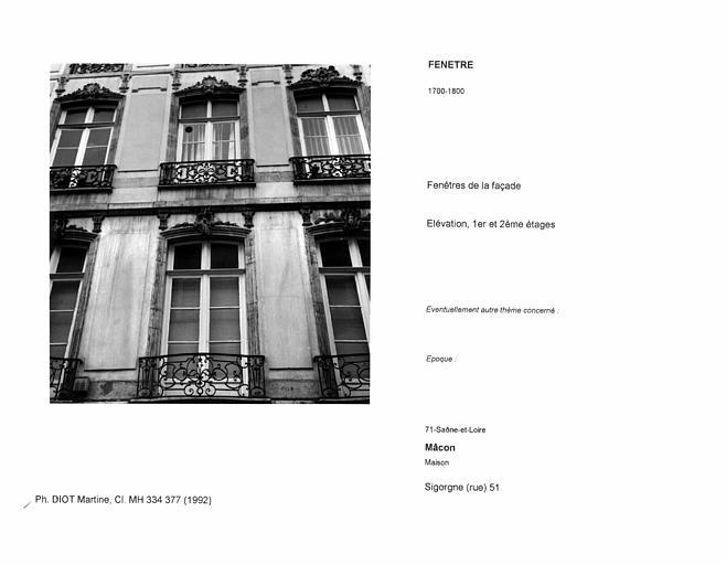 Fenêtres de la façade. Elévation, premier et deuxième étages