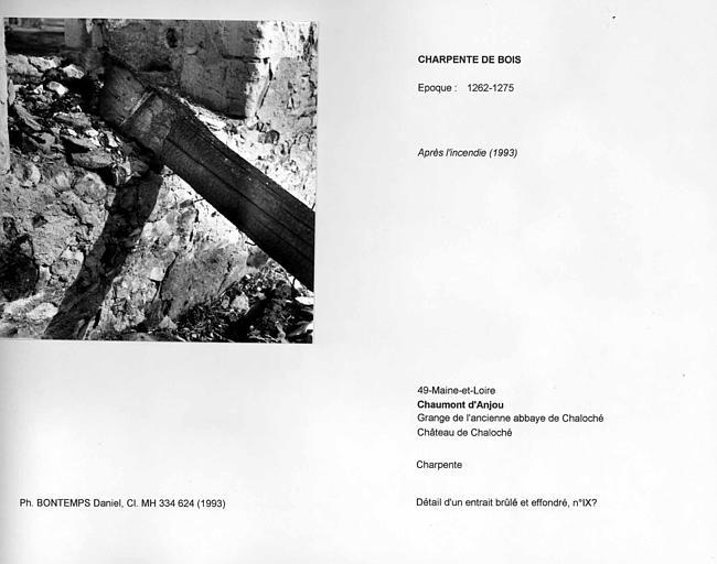 Charpente de la grange après l'incendie de 1993. Détail d'un entrait brûlé et effondré, n°IX?