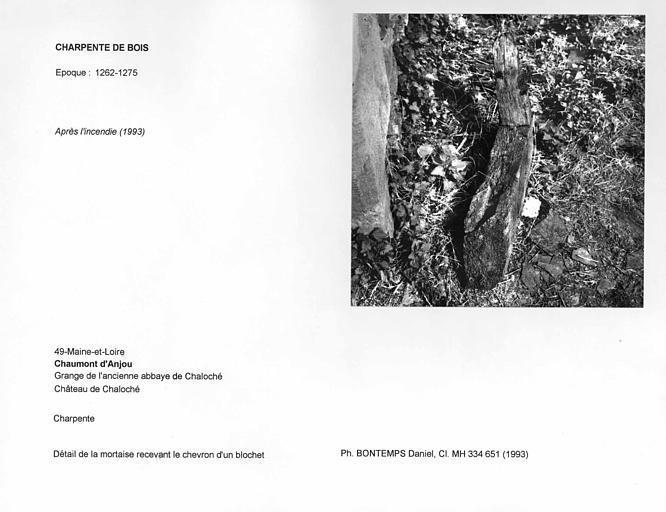 Charpente de la grange après l'incendie de 1993. Détail de la mortaise recevant le chevron d'un blochet