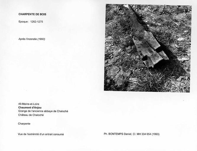 Charpente de la grange après l'incendie de 1993. Vue de l'extrémité d'un entrait consumé