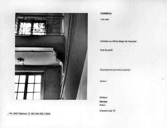 Corbeau au deuxième étage de l'escalier. Vue de profil