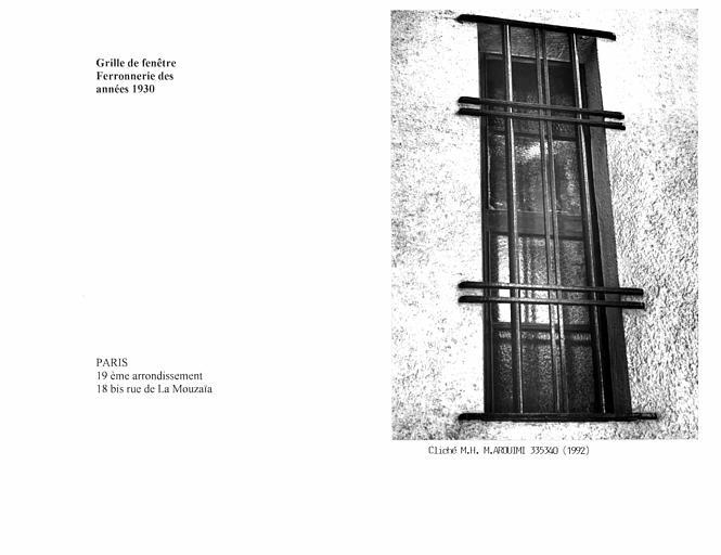 Grille de fenêtre des années 1930
