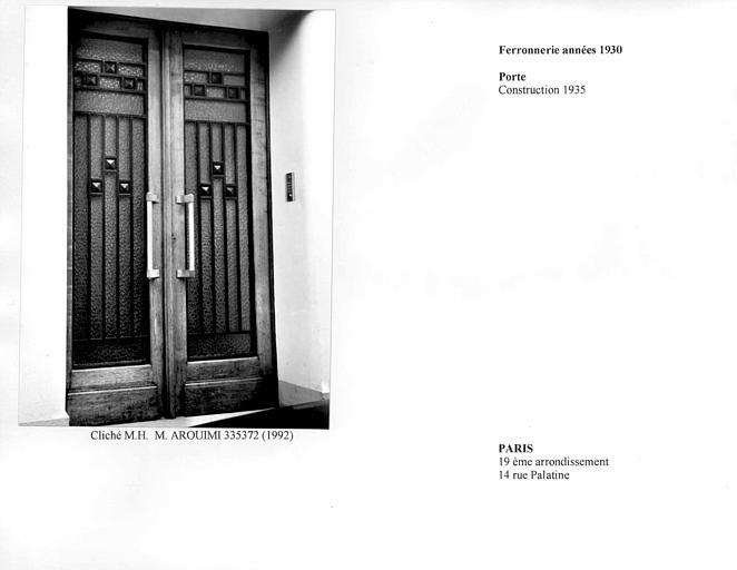 Porte et ferronnerie des années 1930