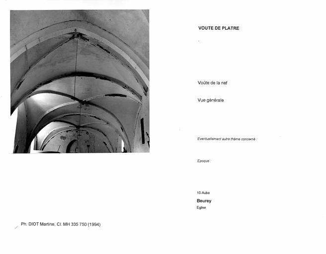 Voûte de plâtre de la nef. Vue générale