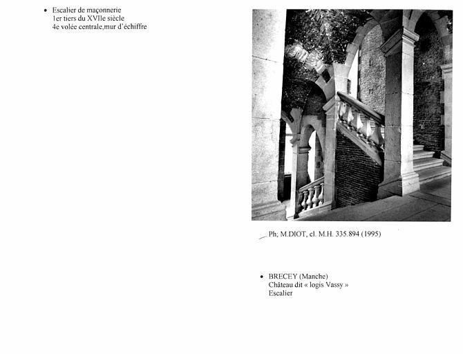 Escalier, quatrième volée centrale, mur d'échiffre