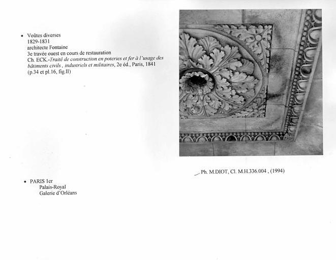 Voûte de la galerie d'Orléans, troisième travée ouest