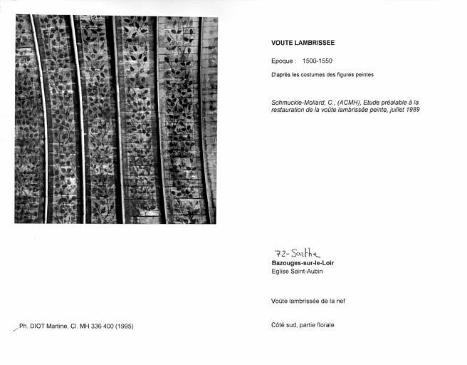 Charpente lambrissée de la nef. Côté sud, partie florale