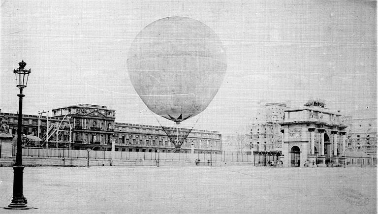 Les jardins en 1878 et le ballon captif de Giffard