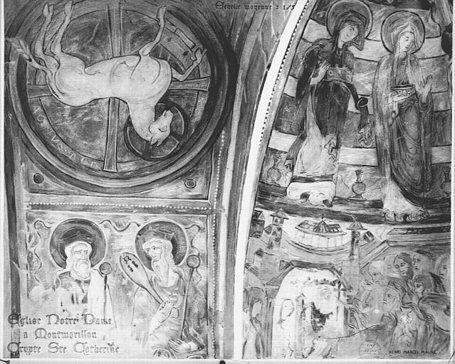 Relevé de peintures murales de la crypte Sainte-Catherine : l'Agneau mystique, deux vieillards de l'Apocalypse, scènes religieuses