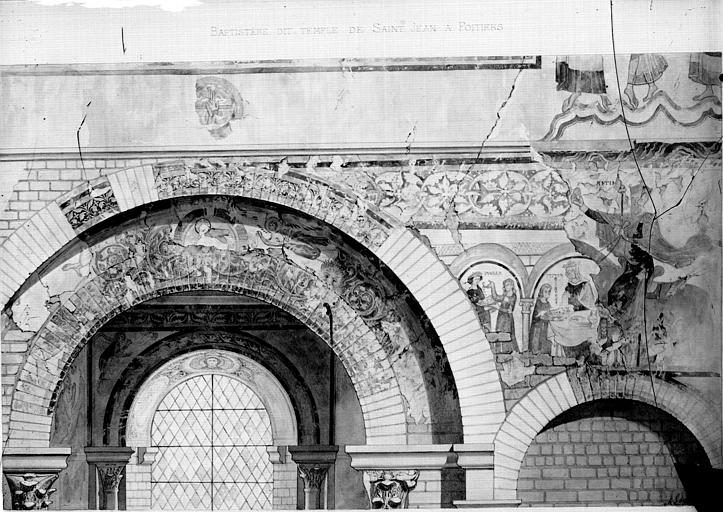 Relevé de peintures murales : peintures superposées, scènes diverses