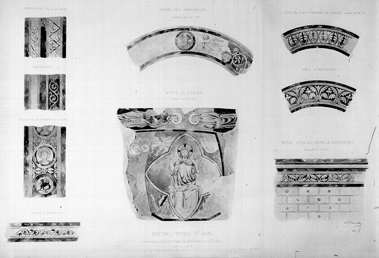 Relevé de peintures murales : fragments des peintures postérieures au XIIème siècle, Christ en majesté et divers motifs