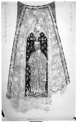 Relevé de peintures murales de la coupole ouest : le prophète Isaac