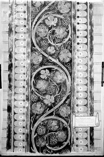 Relevé de peintures murales de la coupole ouest : les frises séparant les prophètes