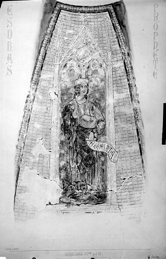 Relevé de peintures murales de la coupole ouest : le prophète Esdras