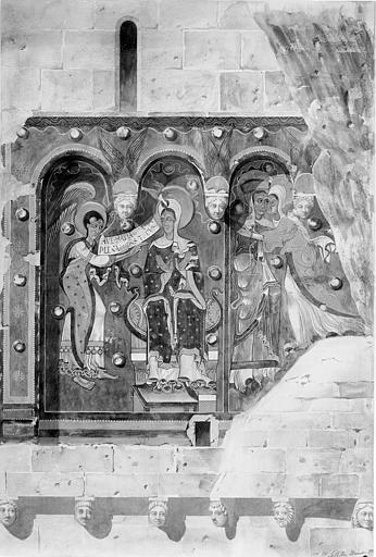 Relevé de peintures murales : l'Annonciation et la Visitation