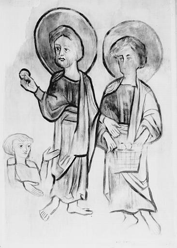 Relevé de peintures murales de la crypte : la multiplication des pains