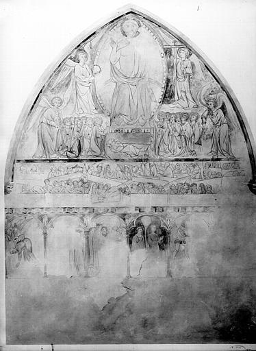 Relevé de peintures murales : Christ en majesté, le Jugement dernier