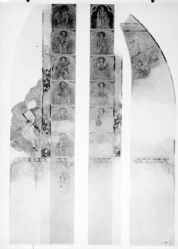 Relevé de peintures murales : saints, pesée des âmes