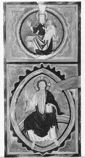 Relevé de peintures murales : Vierge à l'Enfant, Christ en majesté