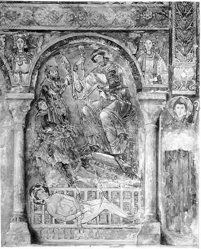 Relevé de peintures murales de la chapelle : martyre de saint Vincent