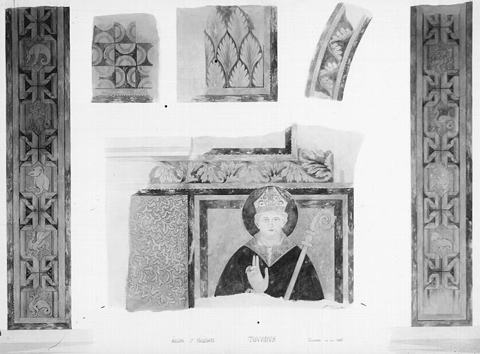Relevé de peintures murales : un évêque, détails de frises