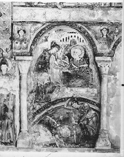 Relevé de peintures murales de la chapelle : la décollation de saint Blaise