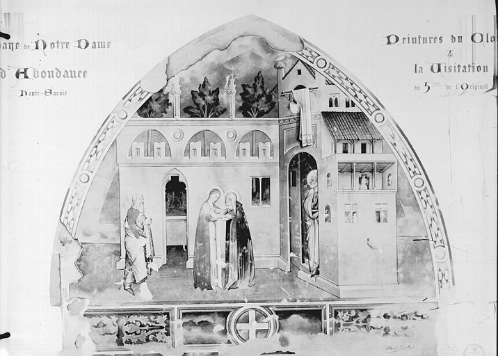 Relevé de peintures murales de la galerie sud du cloître : la Visitation