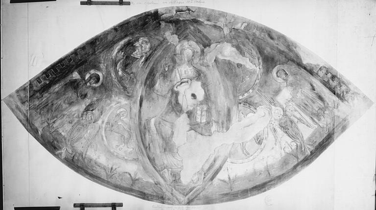 Relevé de peintures murales du choeur de la chapelle : le Christ en majesté entouré des symboles des évangélistes, de la Vierge, saint Jean et deux séraphins