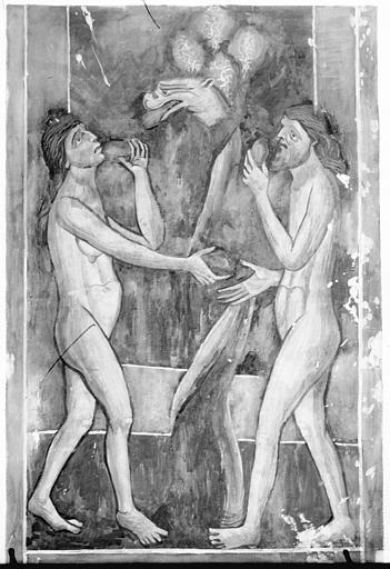 Relevé de peintures murales : le Péché originel