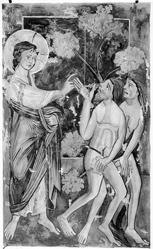 Relevé de peintures murales : Adam et Eve chassés du Paradis