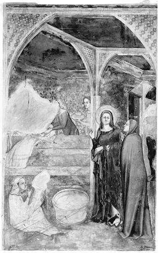 Relevé de peintures murales du mur sud de la Chapelle Innocent VI : la Nativité de saint Jean-Baptiste