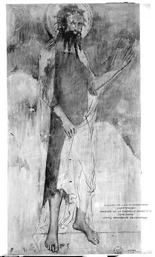 Relevé de peintures murales du mur nord de la Chapelle Innocent VI : saint Jean-Baptiste