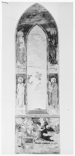 Relevé de peintures murales : quatre saints