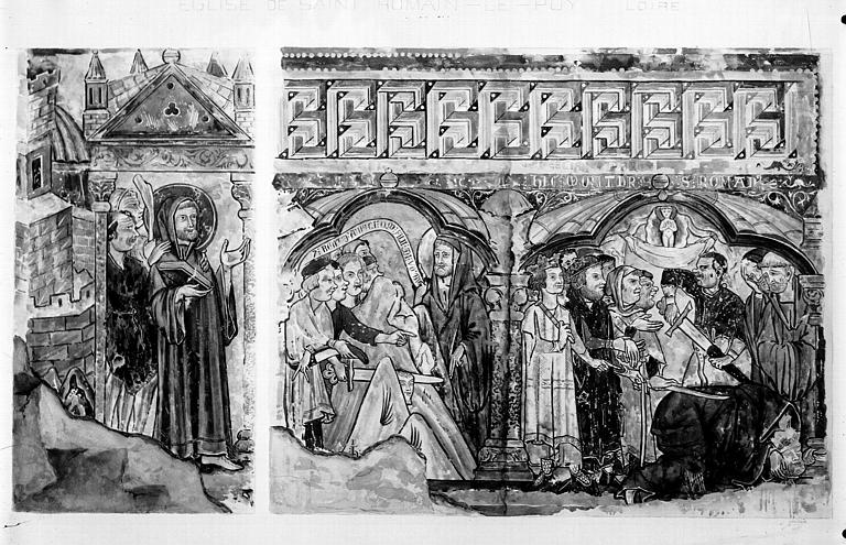Relevé de peintures murales du côté nord de la nef : scène de la vie de saint Romain, sa sortie de prison et sa mort